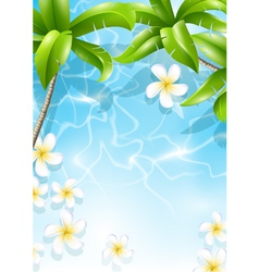 Tropical background with flowers in water vector