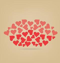 Lips made of hearts vector