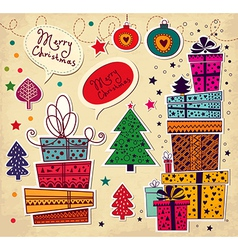 Christmas present stack vector
