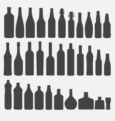 Bottle silhouette set vector