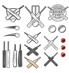 Set of cricket team emblem design elements vector