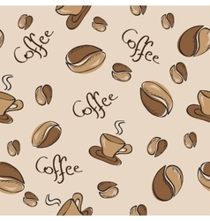 Seamless background with coffee beans and cups vector