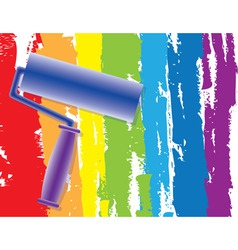 Rainbow painting roller vector