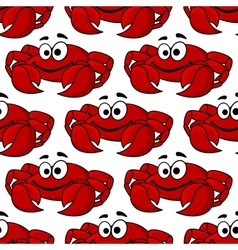 Seamless pattern of a cute happy red crab vector