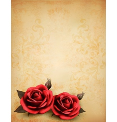 Retro background with beautiful red roses with vector