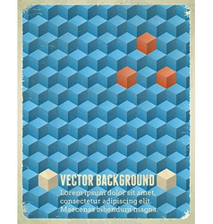 Aged poster with blue cubes vector