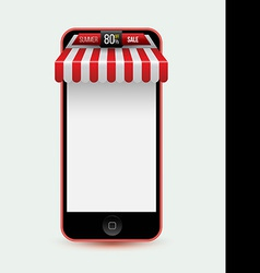 Mobile phone mobile store concept with awning vector