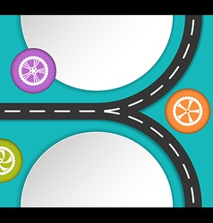 Abstract road and wheels background vector
