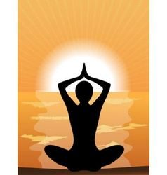 Silhouette of a woman doing yoga vector