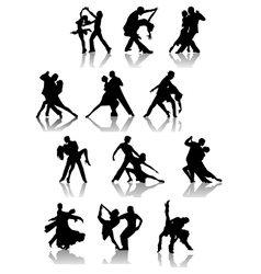 Set of silhouettes of dancing couple vector