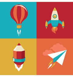Icons in flat style - start up and launch vector