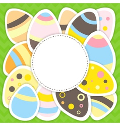 Easter eggs pattern on a green vector