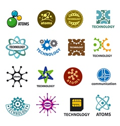 Biggest collection of logos technology and atoms vector