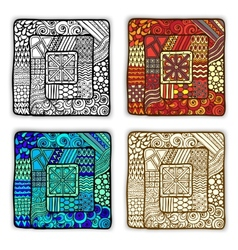 Set of four doodle ethnic cards in vector