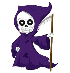 Cute cartoon grim reaper vector