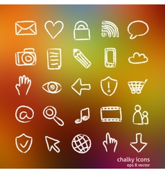 Social media icon set doodles vector