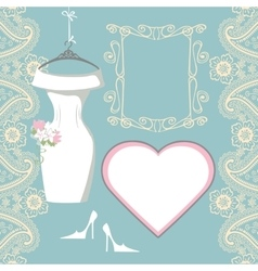 Wedding bridal dress with paisley border label vector