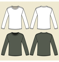 Blank long-sleeved t-shirts template vector