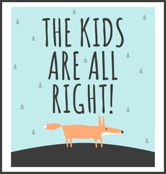 Stylish childrens poster with quote vector