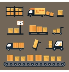 Transportation shipping and delivery icons vector