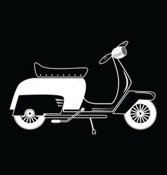 Vintage scooter type 1 in black and white on black vector