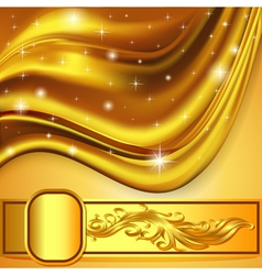 Background fabric satin gold ornament vector