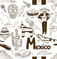 Sketch mexico seamless pattern vector