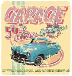 Garage 50 era cars vector