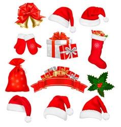 Big set of red santa hats and clothing vector