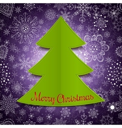 Abstract christmas tree and violet background vector