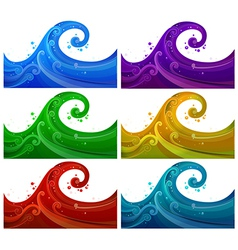 Six colorful waves vector