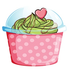 A pink disposable cupcake container vector
