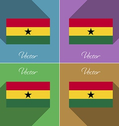 Flags ghana set of colors flat design and long vector