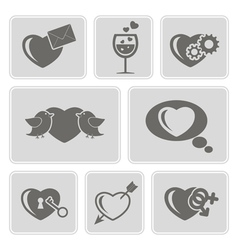 Icons with symbols of valentine day vector