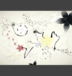 Chinese floral background vector