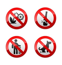 Set prohibited signs - park vector
