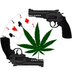 Cards hemp and two pistols vector