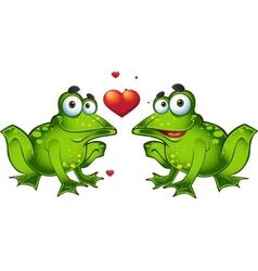 Green frogs in love vector