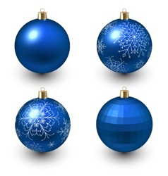 Blue christmas balls vector