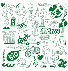 Ecology - doodles collection vector