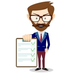 Businessman holding a paper vector