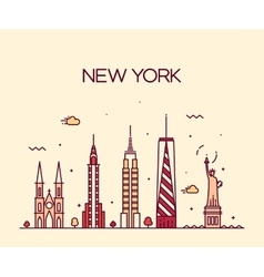 New york city skyline silhouette line art style vector