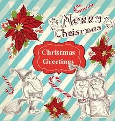 Christmas set with retro santa claus vector