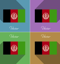 Flags afghanistan set of colors flat design and vector