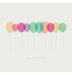 Birthday card with colorful transparent balloons vector