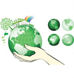 Earth globe in hands protected vector