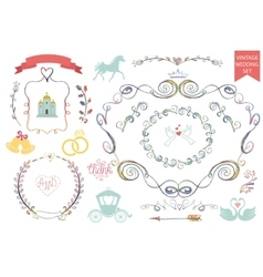 Vintage wedding iconsfloral doodle decor set vector