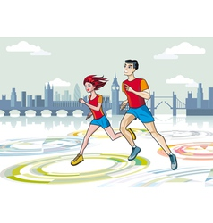 London marathon runners vector