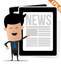 Young cartoon business man with news on tablet - vector
