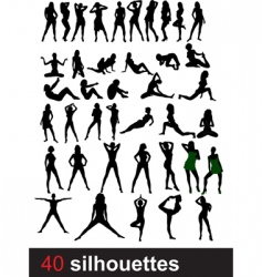 Forty silhouettes vector